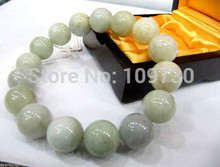 free shipping >>>>>90978 Best Natural Chinese A Grade Aqua Jade Jadeite 12mm Beads Bracelet(China)