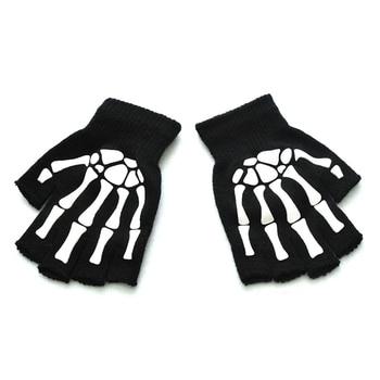 Luminous Fluorescence Elastic Gloves Skeleton Men Gloves Ghost Claw Halloween Style Gloves Knitted Half Finger Mittens Unisex