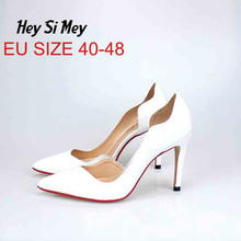 Big Size 40-48 Women Pumps Sexy Pointed Toe Thin high heels Shallow women high heels Casual Slip-on women shoes Red pumps women pumps big size shoes gold crystal bling mesh transparent high thin heels pointed toe fashion party sexy slip on shallow