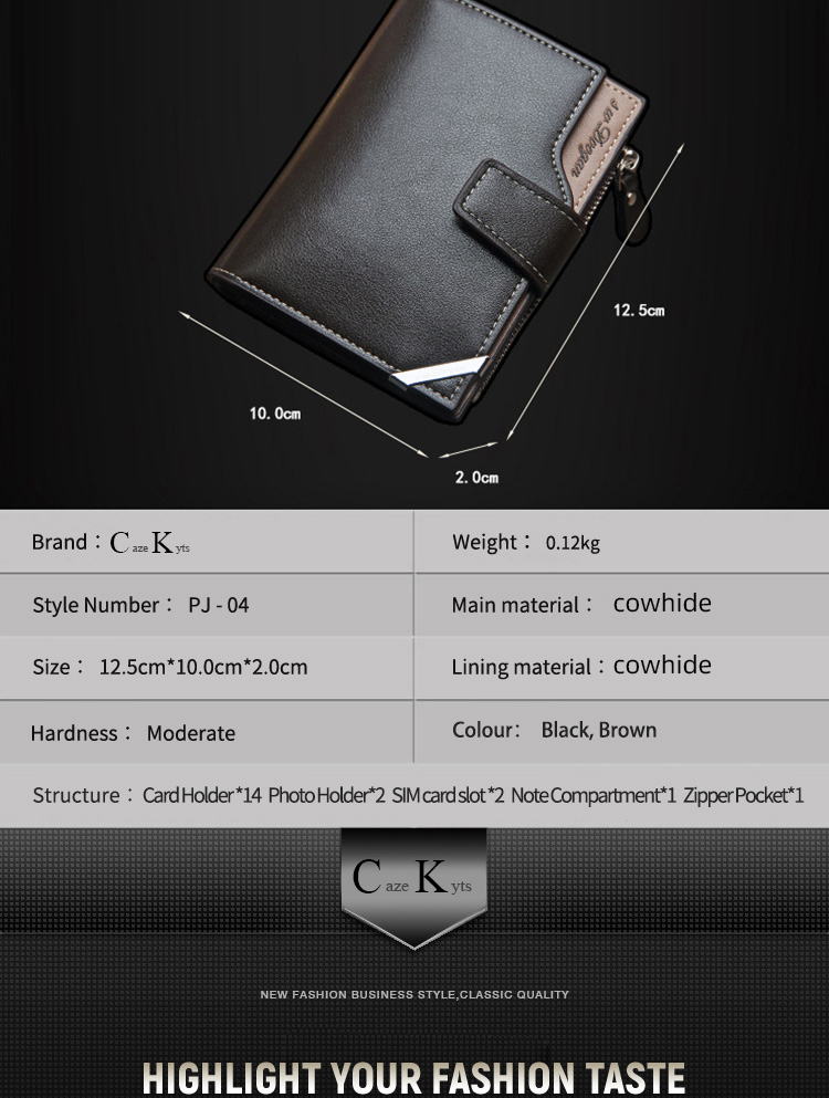 H253a9ab1f09c47dfa98e287cb0e99d13F - New Korean casual men's wallet Short vertical locomotive British casual multi-function card bag zipper buckle triangle folding
