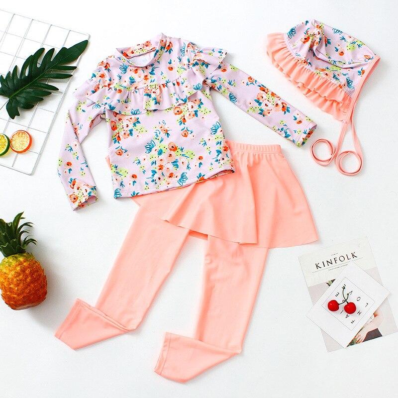 Swimsuit For Girls Kids 2019 Children's Clothes Baby Clothing Female Child Swimwear Bikini Girl Dress Belt Caps Children