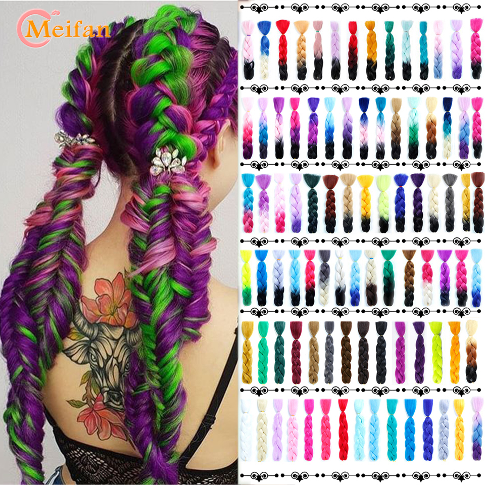 MEIFAN 100g 24inch Ombre Jumbo Braiding Hair Extensions Fake Hair For Braiding Colored Strands Crochet Hair Accessorie