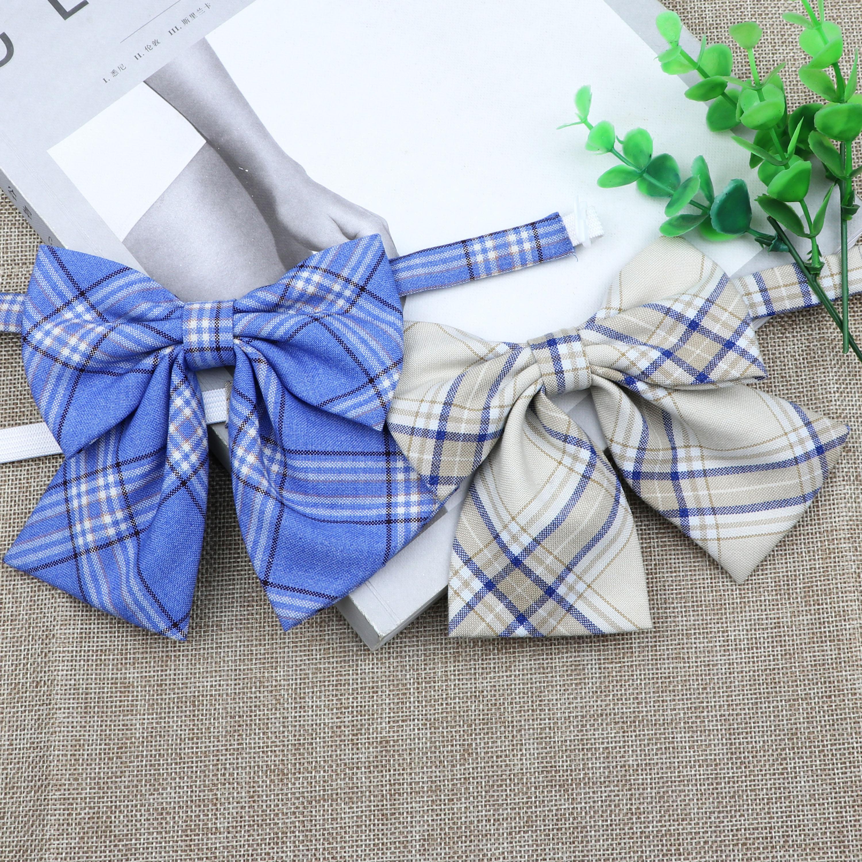 Hot Women Girls Silk Cotton Bowties Fashion Cute College Style Striped Plaid Ladies School Girl Student Uniform Butterfly Knot