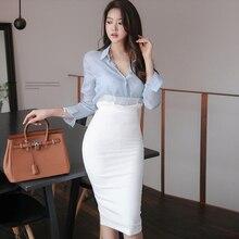 White Skirt Work-Dress High-Waist Blouse Mesh Solid-Shirt Bodycon Office Midi Two-Piece