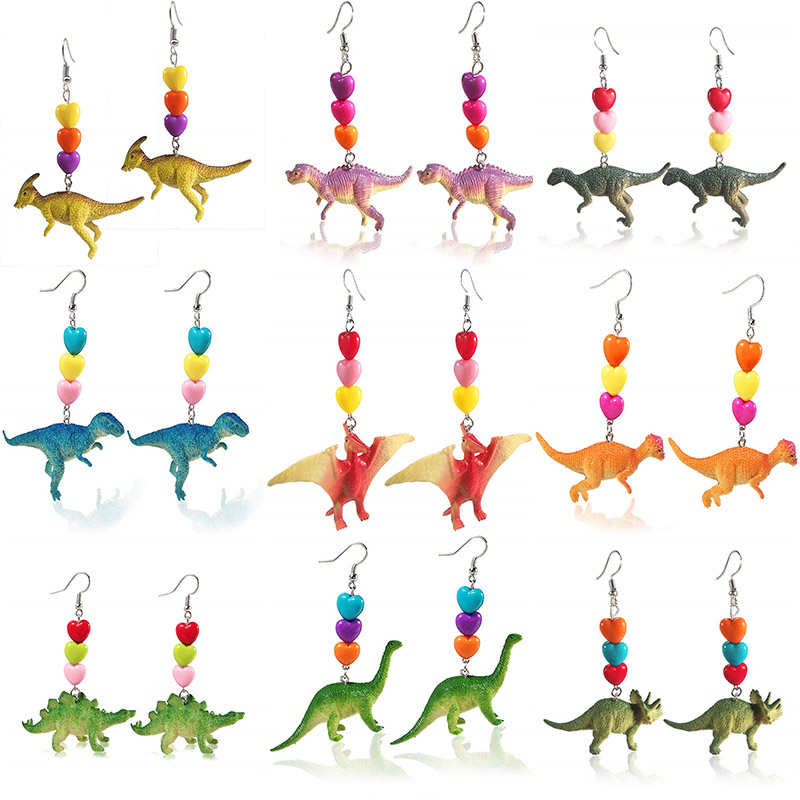 2019 Cute Animal Long Earrings Exaggerated Resin Dinosaur Heart Statement Drop Earrings For Women Girl Whimsy Funny Jewelry