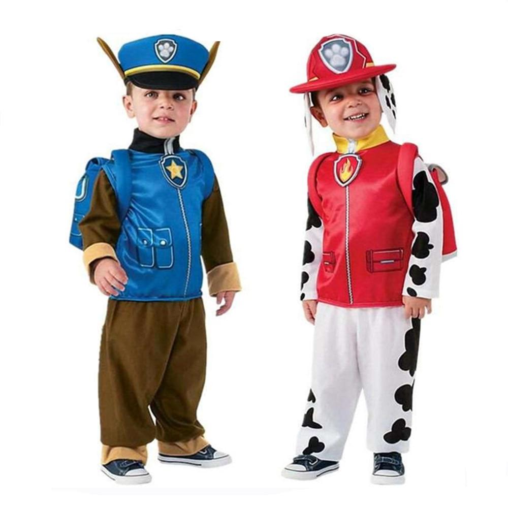 2021 new Paw costume Kids Boys Girls Birthday Purim Marshall Chase Skye Cosplay Costume Patrol Dog Children Ryder Party Role