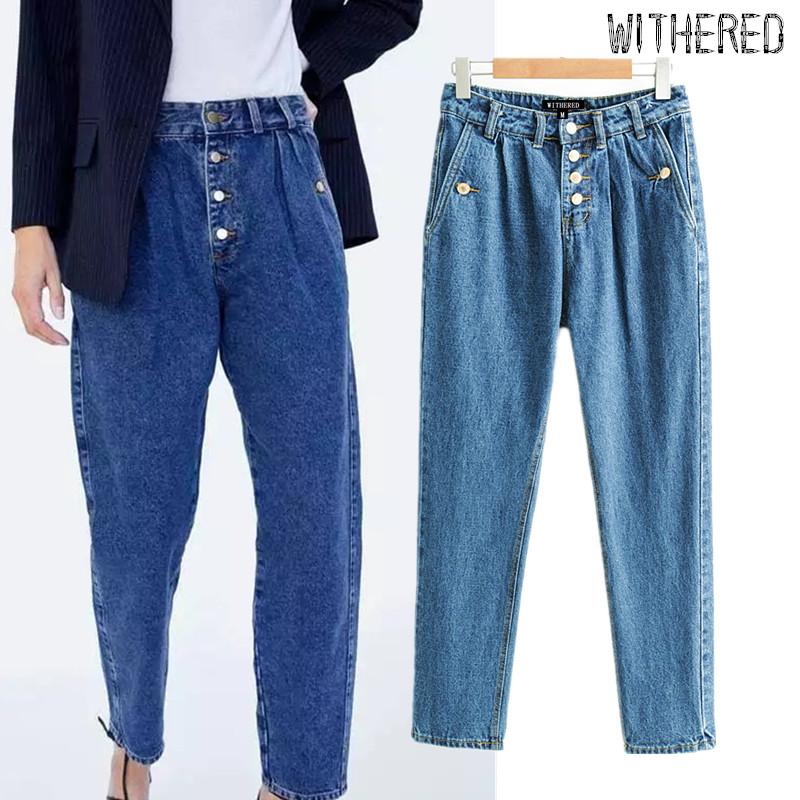 Withered England Vintage Single Breasted Mom Jeans Woman High Waist Jeans Ripped Pleated Blue Boyfriend Harem Jeans For Women