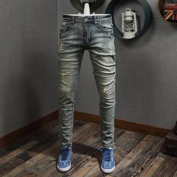цена на Newly Designer Men Jeans Slim Fit Retro Wash Ripped Jeans Men Vintage Denim Pants Italian Style Classical Elastic Jeans