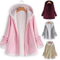 Теплое Женское пальто, зимнее длинное пальто из искусственного меха с изогнутым подолом, флисовое пальто с капюшоном, женские разноцветные ...