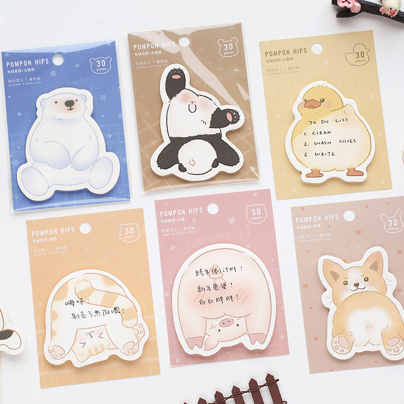 30 Sheets Plush Butt Series Sticky Notes Memo Pad Diary Stationary Flakes Scrapbook Decorative Cute Cat Dog Pig N Times Sticky