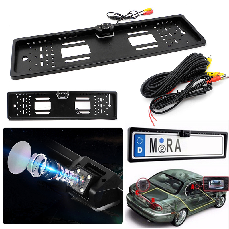 Car European Number License Plate Frame With Rear View Camera 4 LEDs Night Vision Reverse Backup Parking Rearview Accessories