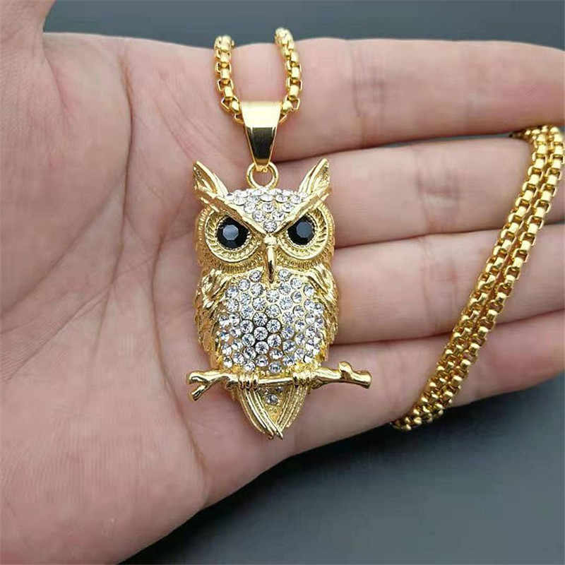 Iced Out Zircon Owl Pendant Animal Necklace Jewelry Gold Stainless Steel Bling CZ Women's Hip Hip Pendant For Women