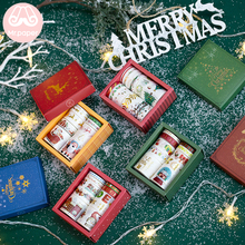 Mr Paper 10pcs/set Merry Christmas Gold Stamping Washi Tape Santa Claus Reindeer Masking Tapes with Release Easy to Tear