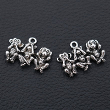 WKOUD 6pcs Antique Silver Animal Pendant - Hip Hop Style Monkey Charm Orangutan Puppy Best Friend 26*19mm A349