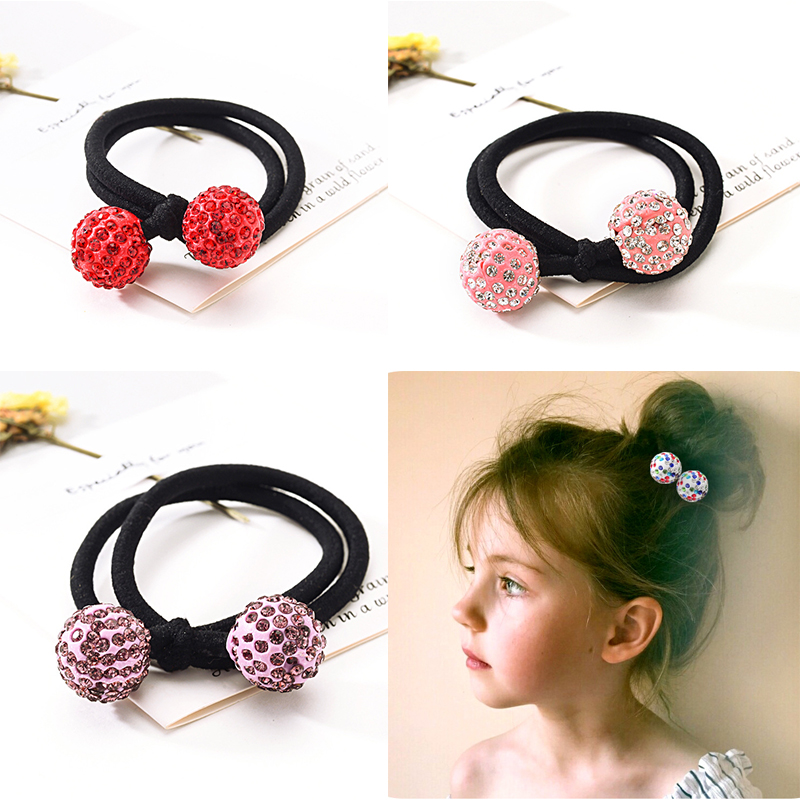 Women Hair Accessories High Quality Rhinestone Dots Elastic Hair Bands Ball Headbands Round Rubber Band Ponytail Gum For Hair