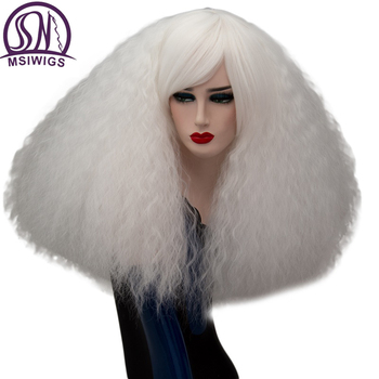 MSIWIGS 17 Colors Cosplay Wigs Blonde Synthetic Pink Red Green Medium Long Hair Afro Wig for Women