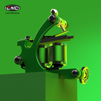 Professional Wire Cutting Handmade Carbon Steel Wrap Coils Tattoo Machine for Liner and Shader Green Color Iron Tattoo Supplies