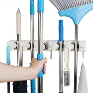 broom and mop holder wall mounted Storage cleaning Tools Commercial Mop Rack closet organizer tool hanger for Kitchen Garden