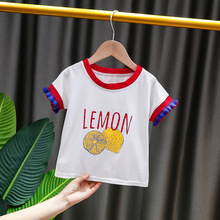 6M-3T 2020 Toddler Kid Baby Summer T-shirt Letter Print Short Sleeve Korean Casual Baby Girls Lemon Tee shirts Cute Tops Clothes girls letter print patch detail tee with skirt