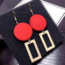 European And American Street Retro Fashion Earrings Temperament Red Square Geometric Stitching Personality Exquisite Earrings 2019 autumn new european and american women s personality stitching ruffled long sleeved round neck slim bag hip dress
