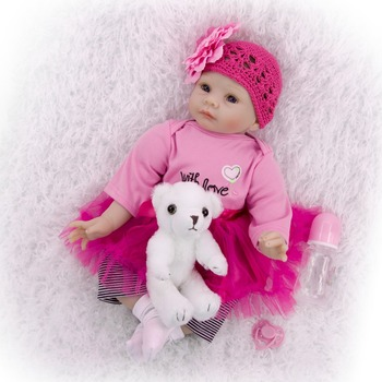 "Girl Baby reborn princess doll toys 22"" 55cm bebe reborn silicone baby reborn dolls classic educational toys gift"
