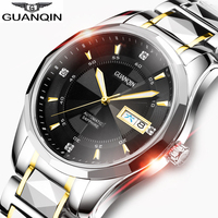 GUANQIN 2019 Japan Mechanical movement Watch week Date men Tungsten steel watch waterproof Automatic clock men Relogio Masculino