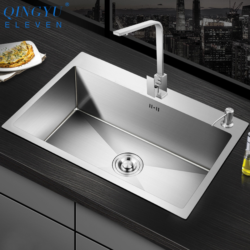 QINGYU ELEVEN Kitchen Sink Lead-free Handmade Brushed 304 Stainless Steel 3mm Thickness Single Bowl Large Size Kitchen Sink
