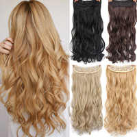 """AISI HAIR 22"""" 15 Colors Long Wavy High Temperature Fiber Synthetic Clip in Hair Extensions for Women"""