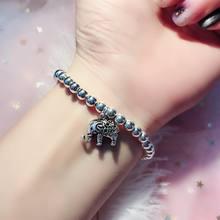 Настоящее 925 пробы серебро элегантные браслеты с бусинами Ретро