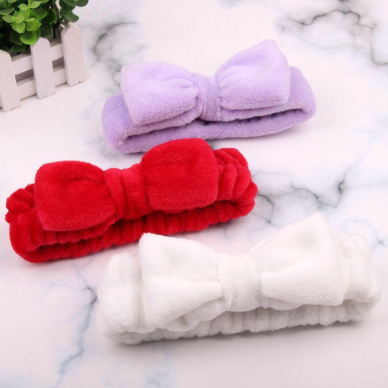 New Solid Bow Makeup Hair Bands Wash Face Headband Color Coral Fleece Makeup Soft Elastic Headband Hair Accessories Headdress