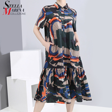 New 2020 Women Summer Colorful Printed Casual Shirt Dress Short-Sleeve Lady Stylish Charming Elegant