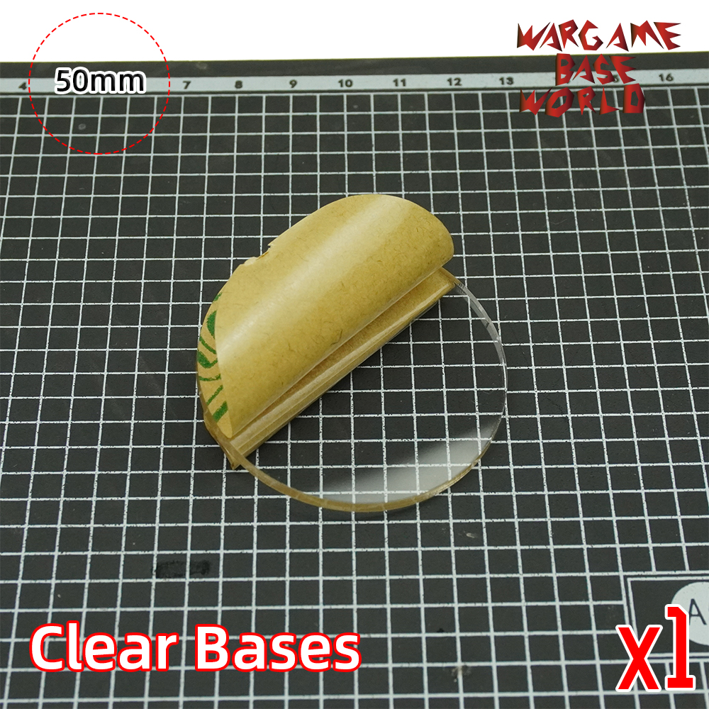 TRANSPARENT / CLEAR BASES For Miniatures - 50mm Round Clear Bases