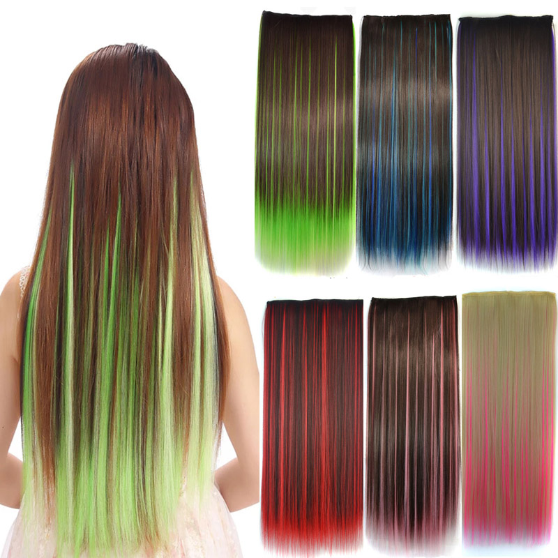 Jeedou Straight Synthetic Hair 5Clips Clip in One Piece Hair Extension Blue Brown Green Pink Highlighted Piano Color