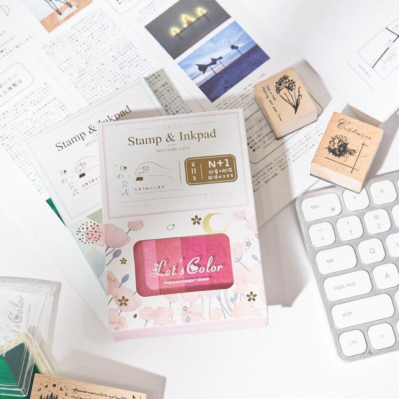 Small Fresh Wooden Seal Set Creative Gradient Color Inkpad Retro Hand Account Diy Decorative Seal Kawaii School Supplies