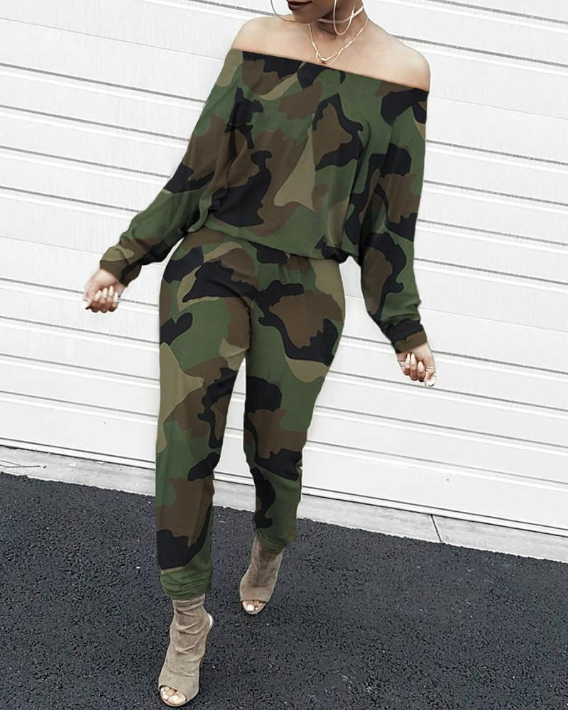 Off Shoulder Camouflage Long Sleeve Jumpsuit Women Ropmers Casual One Piece Overalls Streetwear