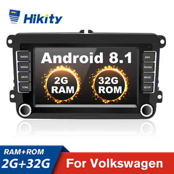 Hikity Android 8.1 Car Multimedia Player 2 Din 7 Car Radios GPS Navigation Wifi Autoradio For VW/Volkswagen/Golf/Polo/Jetta image
