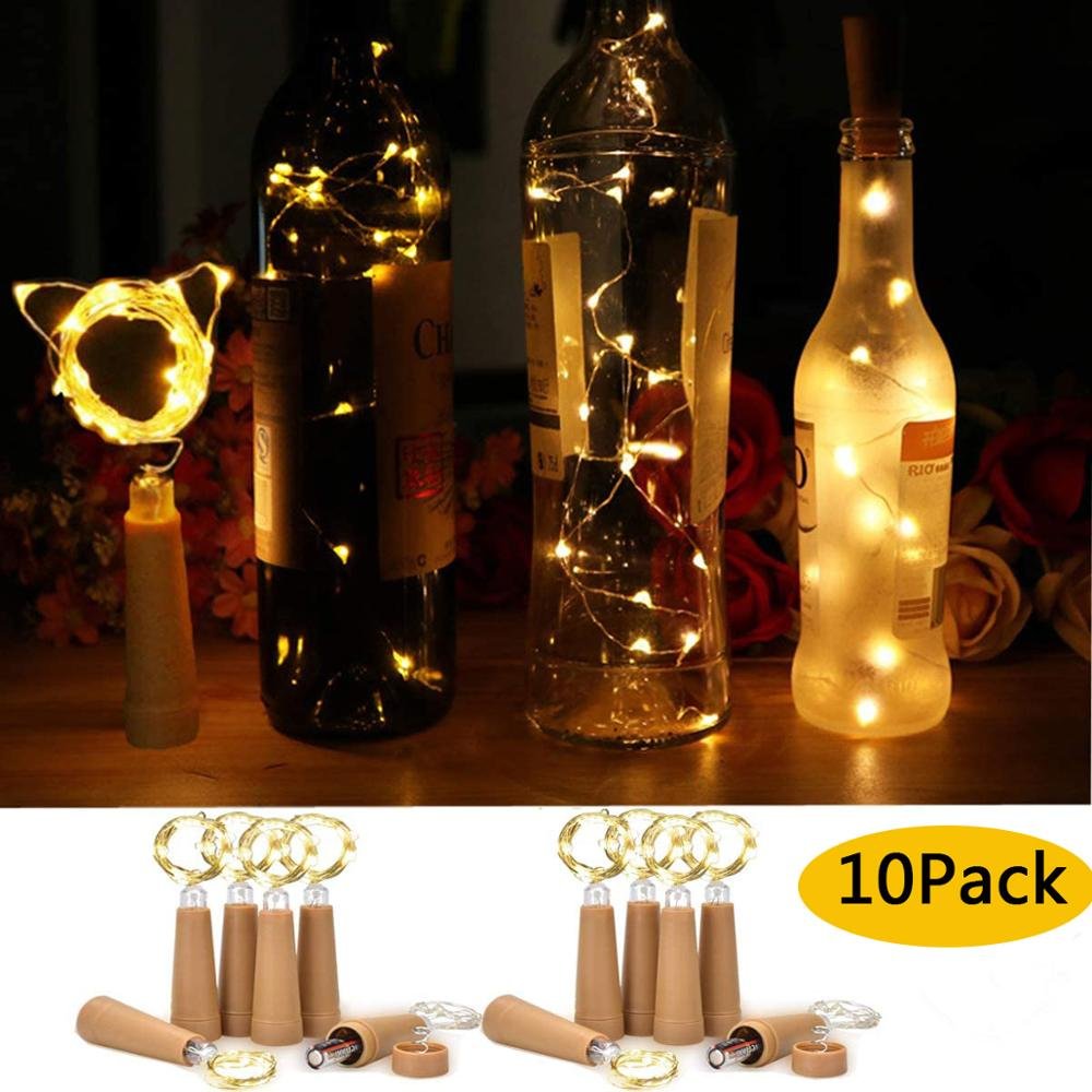 LED Wine Bottle Lights 10/20 LED Cork Shape Copper Wire String Lights For Indoor Outdoor Holiday Wedding Party Christmas Lights