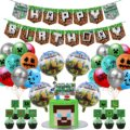 42pcs Pixel Style Party Supplies Include Happy Birthday Banner, Cake Top Hat, Game Style Aluminum Film Latex Balloon Decoration