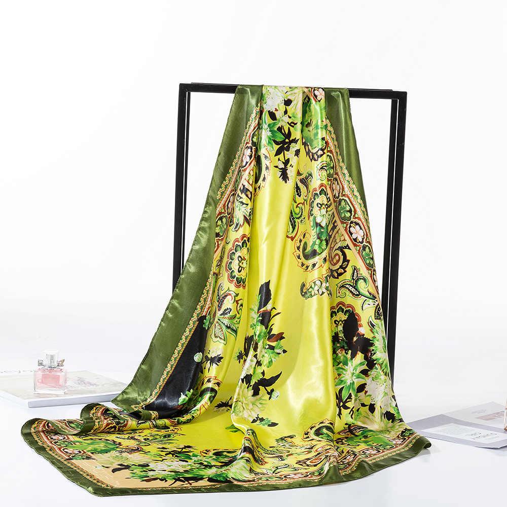 Fashion New Design damski szalik kwiatowy wzór kwadratowy materiał podobny do jedwabiu chustka do włosów owija muzułmańskie hidżaby