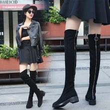 Rear zipper over knee boots female autumn and winter flat bottom 2019 new velvet boots high leather leather long boots over the knee boots long boots children s autumn and winter 18 new flat bottom wild thin high tube lycra elastic women s boots
