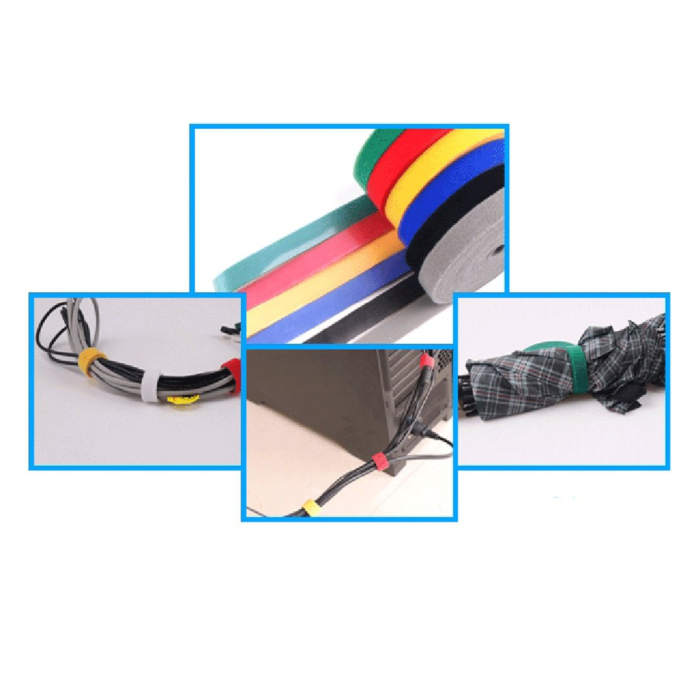 2cm x 1m Red Strap Plastic Nylon Cable Manager Cable Winder Cable Clip Ties Ribbon Wire Strap Seals Office Desktop Management