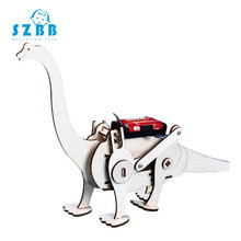 Sz Steam Creative DIY 3D Walking Wooden Dinosaur Robot Toy Developing Intellectual Assembly Model Kit Children Learning Gift Toy(China)