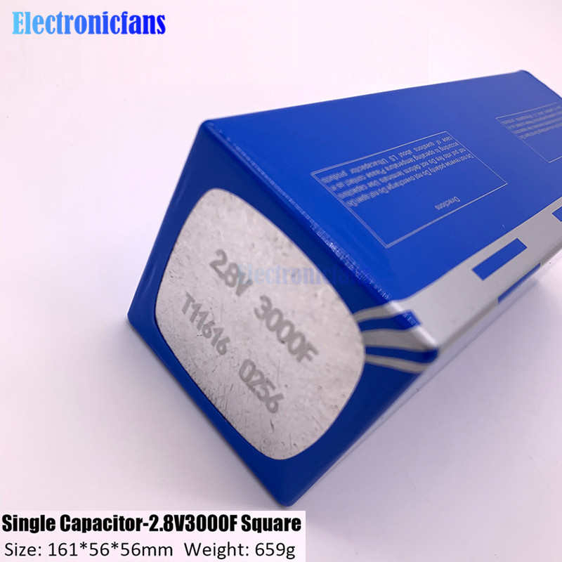 Image 4 - 2.8V 3000F Super Farad Capacitor Low ESR High Frequency Super Capacitor 2.8V3000F for Car 161*56*56mm with protection board-in Capacitors from Electronic Components & Supplies