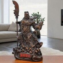 WushenGuangong statue, resin carving, modern art sculpture, family living room loft decoration, God of Wealth Guan Yu souvenir