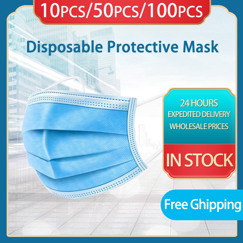 10/50/100Pcs Disposable Protective Mask 3 Layers Dust-proof Face Protective Masks Anti-pollution High Quality Non-woven Mask
