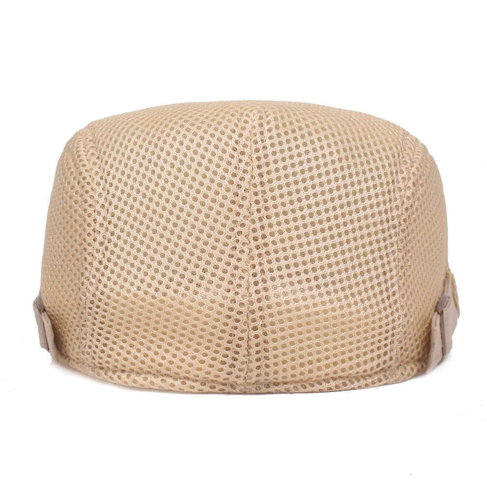 通気性メッシュベレー帽キャップ男性女性の夏のカジュアル帽子ソリッドカラーの帽子調節可能なバイザーフラットキャップタクシー運転手キャスタイルギャツビー帽子