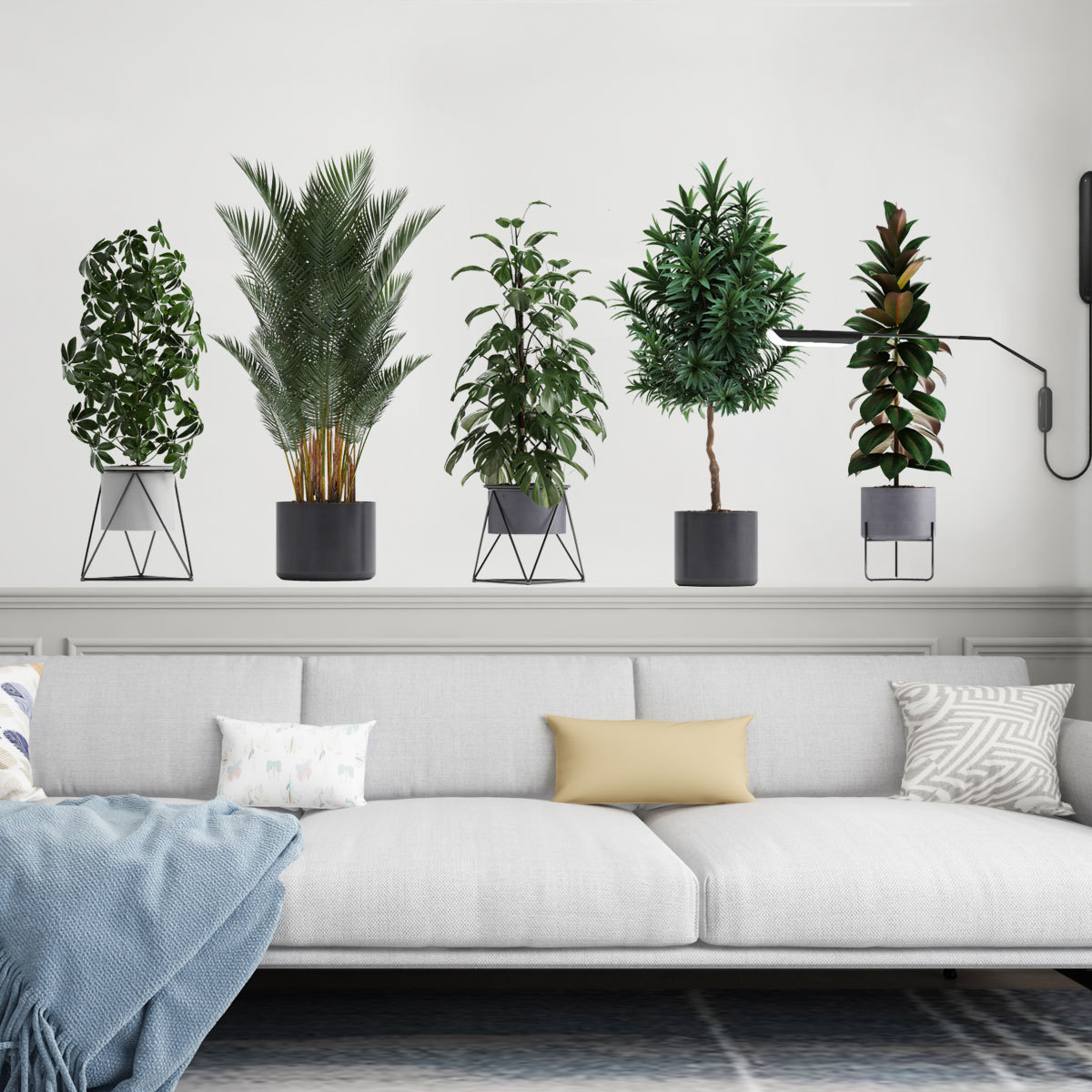 Creative wall stickers 3D green plants potted three-dimensional living room background decoration stickers