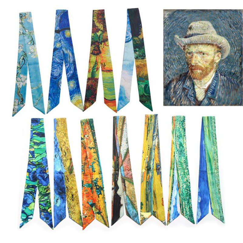 Fashion Classic Van Gogh Oil Painting Bag Ribbons Brand Small Silk Scarf For Women Slim Line Print Head Scarf Long Scarves B002