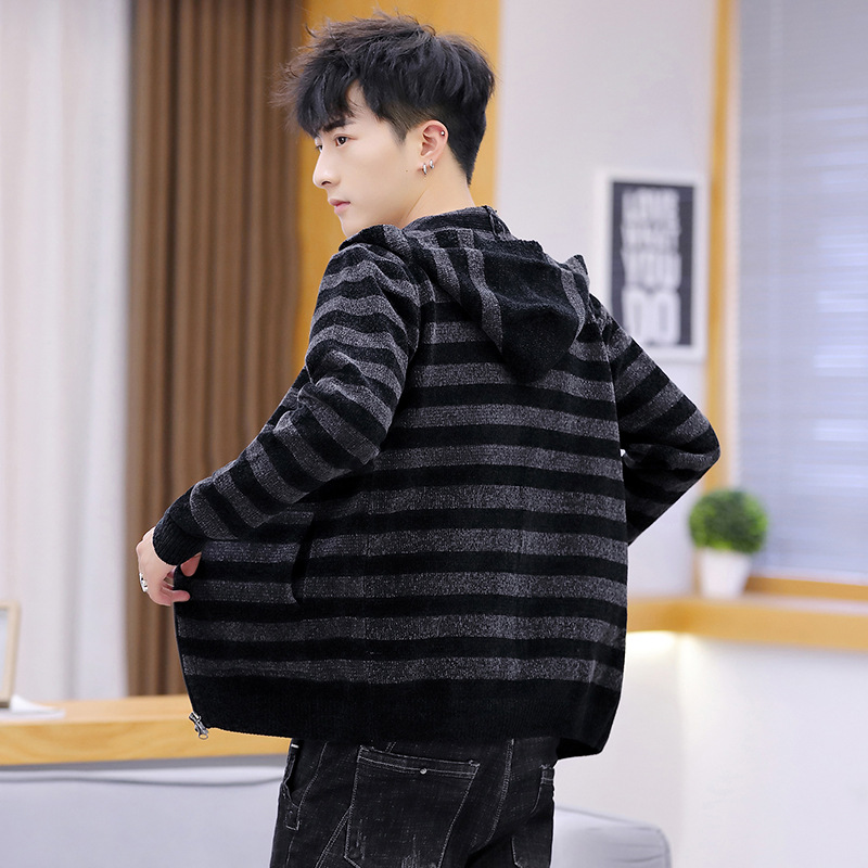 Mens Sweaters Hooded Black White Blue Casual Long Sleeve Men Sweater Zipper Men Winter Striped Clothes 2019 Cardigan Men