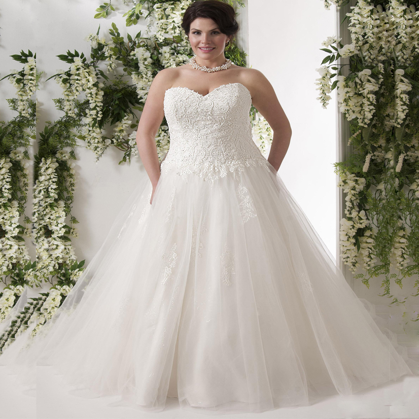 ADLN Elegant Plus Size Wedding Dresses Vestido De Noiva Sweetheart Sleeveless Applique Sequin Tulle Bride Gowns For Big Lady